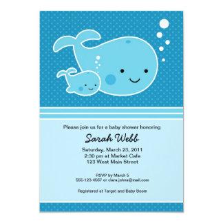 Invitación del bebé y de la mamá de la ballena