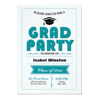 Invitación del blanco del fiesta del graduado