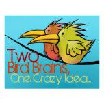 Invitación del boda, 2 pájaros en un alambre, dive
