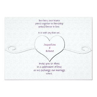 Invitación del boda - blanco del corazón y del