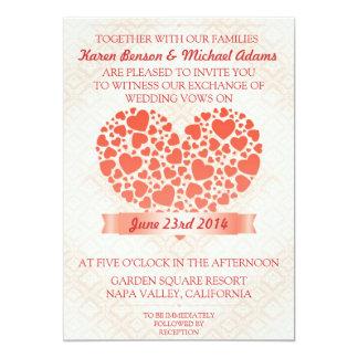 Invitación del boda con los corazones