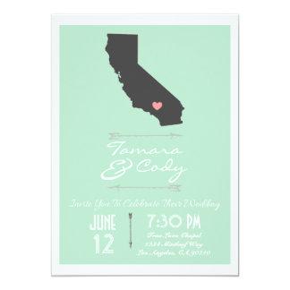Invitación del boda de California de la verde