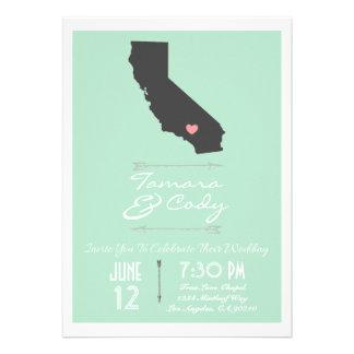 Invitación del boda de California de la verde ment