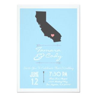 Invitación del boda de California del azul de