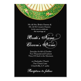 Invitación del boda de China del vintage del VERDE