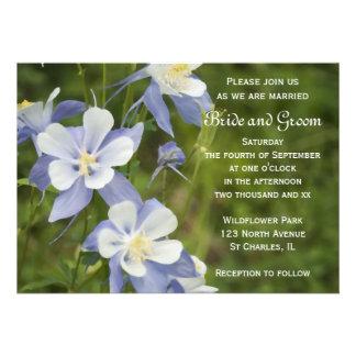 Invitación del boda de Columbine azul