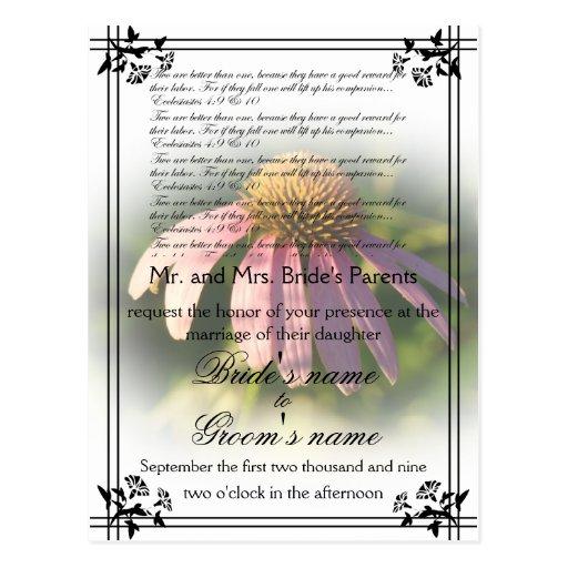 Invitación del boda de Coneflower Tarjetas Postales