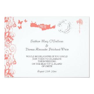 Invitación del boda de Creta en rosado coralino y