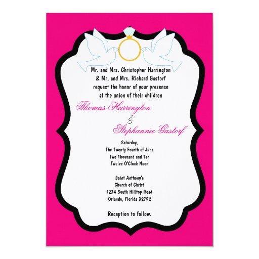 invitación del boda de diamante de la paloma de