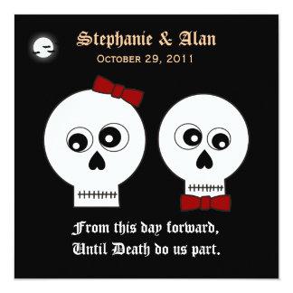 Invitación del boda de Halloween de los cráneos