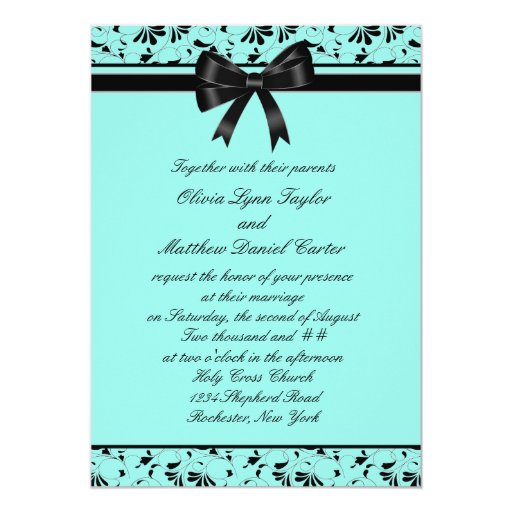 Invitación del boda de la aguamarina 5x7 del