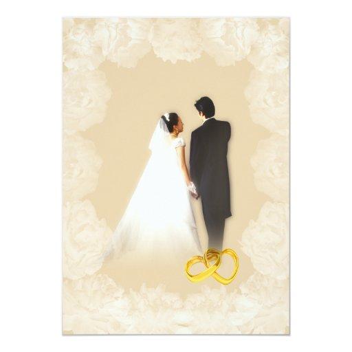 Invitación del boda de la almendra del Peony del