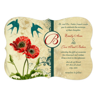 Invitación del boda de la amapola del damasco de l