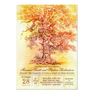 Invitación del boda de la caída con el roble viejo invitación 12,7 x 17,8 cm