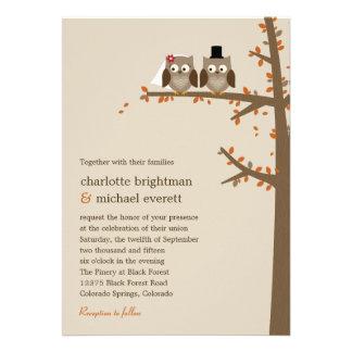 Invitación del boda de la caída de los búhos del a