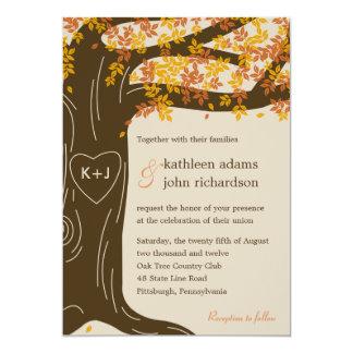 Invitación del boda de la caída del roble invitación 12,7 x 17,8 cm