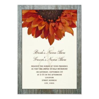 Invitación del boda de la caída - girasol y invitación 12,7 x 17,8 cm