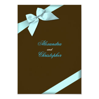 Invitación del boda de la cinta de la aguamarina