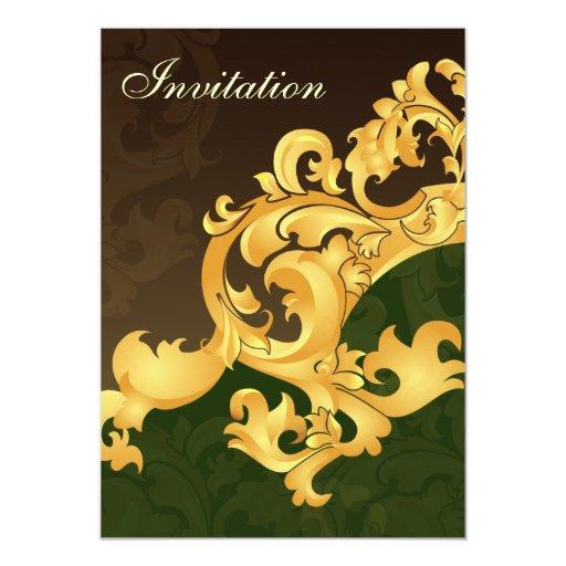 invitación del boda de la elegancia del oro verde