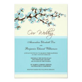 Invitación del boda de la flor de cerezo (azul)