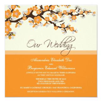Invitación del boda de la flor de cerezo (naranja)