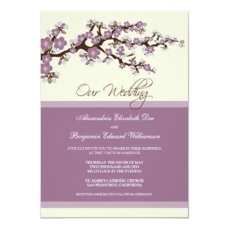 Invitación del boda de la flor de cerezo (púrpura)