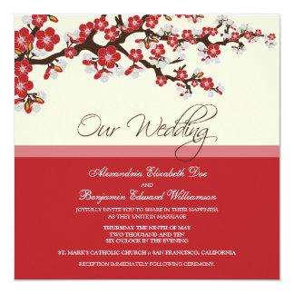 Invitación del boda de la flor de cerezo (roja)