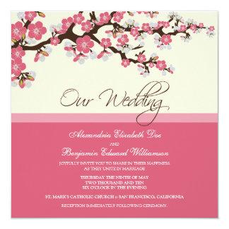 Invitación del boda de la flor de cerezo (rosa)
