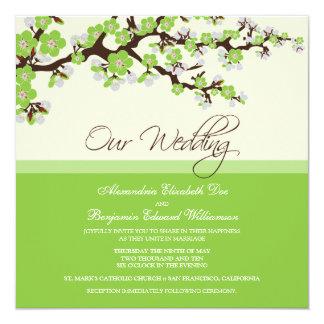 Invitación del boda de la flor de cerezo (verde)