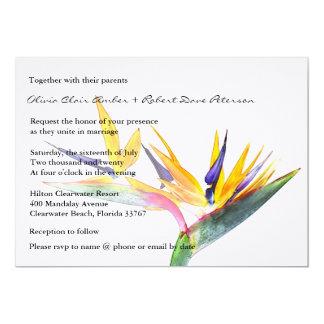 Invitación del boda de la flor de la ave del