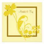 Invitación del boda de la flor del oro