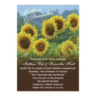 Invitación del boda de la foto de los girasoles invitación 12,7 x 17,8 cm