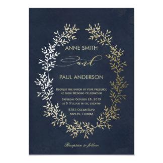 Invitación del boda de la guirnalda y de la marina