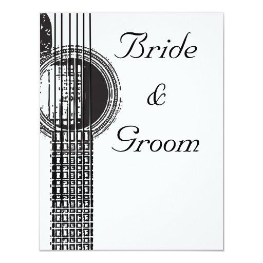 Invitación del boda de la guitarra acústica