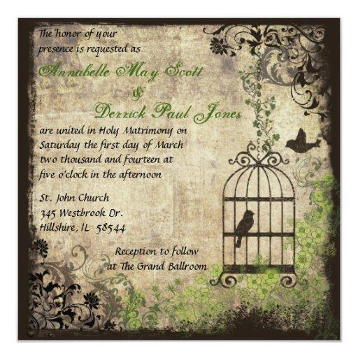 Invitación del boda de la jaula de pájaros del