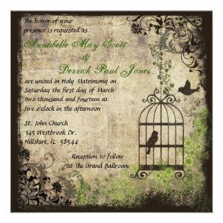 Invitación del boda de la jaula de pájaros del vin
