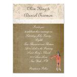 Invitación del boda de la jirafa y del búho invitación 13,9 x 19,0 cm