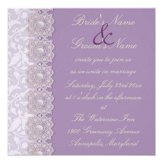 Invitación del boda de la lavanda del cordón y de