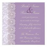 Invitación del boda de la lavanda del cordón y de invitación 13,3 cm x 13,3cm