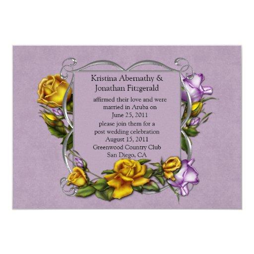Invitación del boda de la lavanda y del poste de