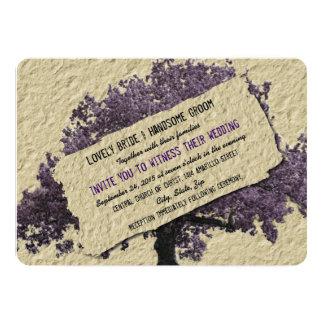 Invitación del boda de la lila del país del invitación 12,7 x 17,8 cm