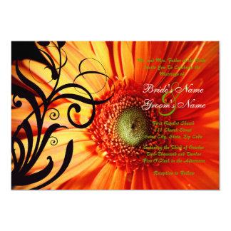 Invitación del boda de la margarita anaranjada