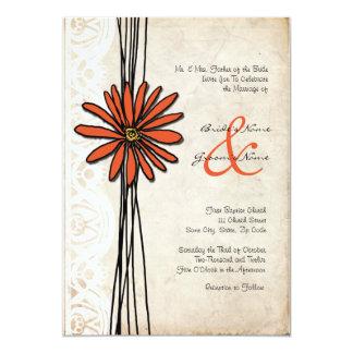 Invitación del boda de la margarita anaranjada del