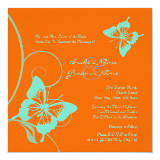 Invitación del boda de la mariposa del naranja y