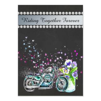 Invitación del boda de la motocicleta con el tarro