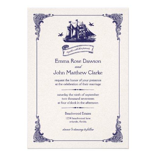 Invitación del boda de la nave del vintage de la m