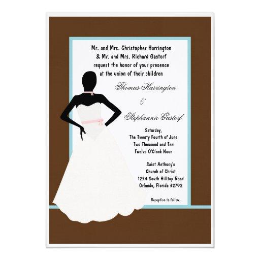 invitación del boda de la novia de 5x7 Brown
