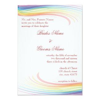 Invitación del boda de la onda del arco iris