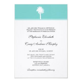 Invitación del boda de la palmera invitación 12,7 x 17,8 cm