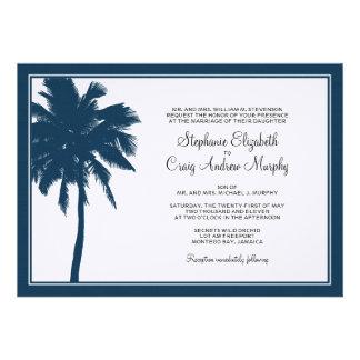 Invitación del boda de la palmera de los azules ma